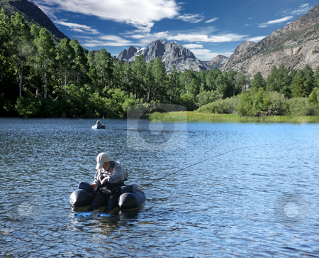 Men Fishing in The Sierra Mountains stock photo, Men Fishing in The Sierra Mountains on a Beautiful Day by Katrina Brown