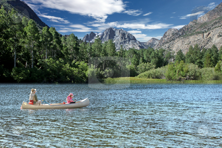 Fishing in the Sierra Mountain Lakes stock photo, Father and Daughter Fishing in the Sierra Mountain Lakes by Katrina Brown