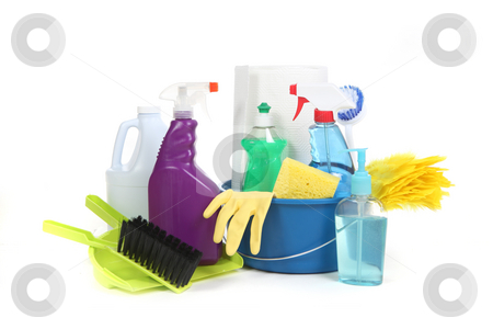 Household Items Used for Chores and Cleaning stock photo, Household Items Used for Chores and Cleaning up the House on White Background by Katrina Brown