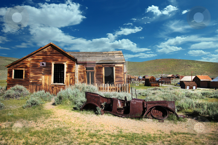 Bodie House and Rusted Vintage Car stock photo, Old Bodie House and Rusted Vintage Car by Katrina Brown