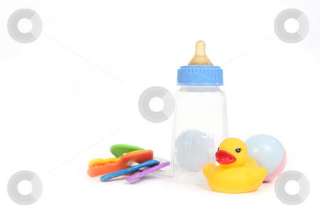 Baby Items on White stock photo, Baby Things on White With Copy Space by Katrina Brown