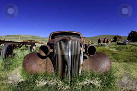Vintage Rusted Old Car in Bodie California stock photo, Vintage Rusted Old Car in Bodie California State Park by Katrina Brown
