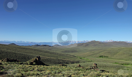 Sierra Mountains With Green Field stock photo, Open Sierra Mountains With Green Field by Katrina Brown