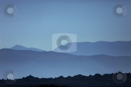 Ghostly Mountain Silhouettes stock photo, Soft and Beautiful Ghostly Mountain Silhouettes by Katrina Brown