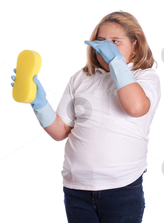 Stinky Cleaning stock photo, A young girl holding her breath because the of the smell of cleaning something, isolated against a white background by Richard Nelson