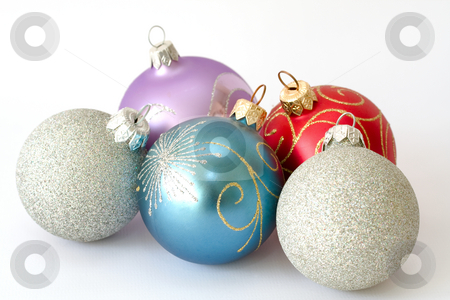 Five christmas balls stock photo, Five christmas balls isolated over white background by Sergey Plakhotin