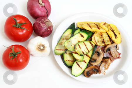 Mushrooms And Grilled Squash stock photo, Grilled Zucchini and yellow Summer Squash on a white plate with tomatoes, onions and Garlic by Lynn Bendickson