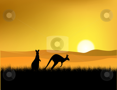 Sunset at wildlife Australia stock vector clipart, Beautiful sunset of Australia, with silhouette of two kangaroo by Surya Zaidan