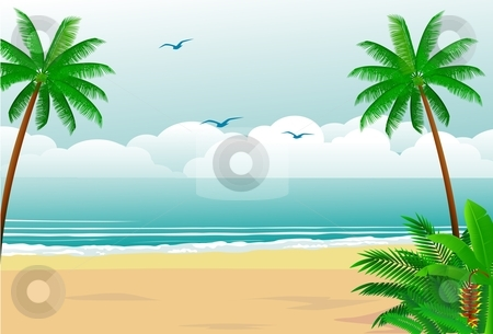 Tropical beach stock vector clipart, Peaceful tropical forest by Surya Zaidan