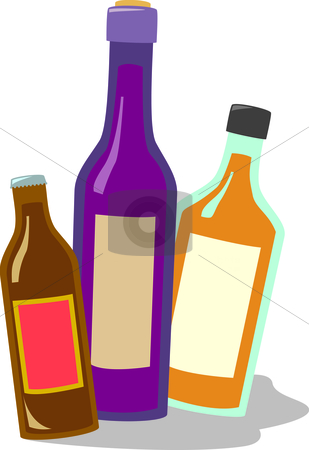 Beer Wine and Liquor stock vector clipart, Three common types of alcoholic beverages sold in liquor stores. Bottles can be separated individually using vector editing software. by Jamie Slavy