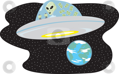 Out of This World Savings stock vector clipart, Alien who saved money flying spaceship