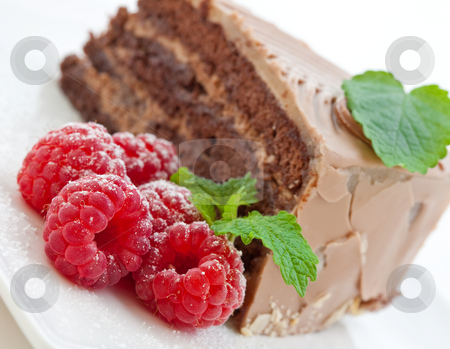 Fresh chocolate cake with raspberries stock photo, Fresh chocolate cake with raspberries on a white plate by Robert Anthony