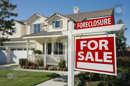 Foreclosure Home For Sale Sign and House stock photo, Foreclosure Home For Sale Sign in Front of Beautiful House. by Andy Dean