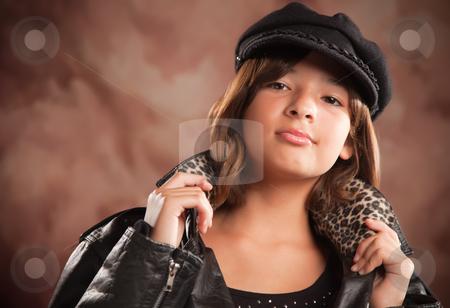 Pretty Hispanic Girl Studio Portrait stock photo, Pretty Hispanic Girl with Hat and Leather Jacket Studio Portrait. by Andy Dean