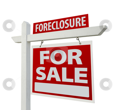 Foreclosure Home For Sale Real Estate Sign Isolated stock photo, Foreclosure Home For Sale Real Estate Sign Isolated on a White Background. by Andy Dean