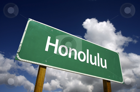 Honolulu Green Road Sign stock photo, Honolulu Road Sign with dramatic blue sky and clouds - U.S. State Capitals Series. by Andy Dean