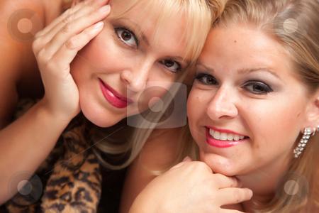 Beautiful Blonde Women Posing on Leopard Blanket. stock photo, Beautiful Blonde Models Posing on Leopard Print Blanket. by Andy Dean