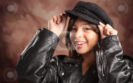 Pretty Hispanic Girl Studio Portrait stock photo, Pretty Hispanic Girl with Hat and Leather Jacket Studio Portrait. by Andy Dean