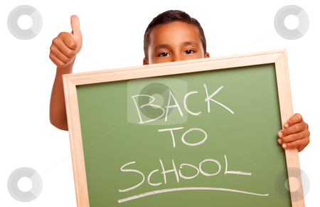 Cute Hispanic Boy Holding Chalkboard with Back to School stock photo, Cute Hispanic Boy Holding Chalkboard with Back to School Isolated on a White Background. by Andy Dean