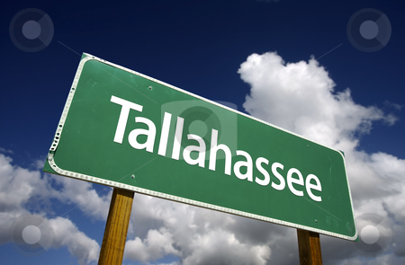 Tallahassee Green Road Sign stock photo, Tallahassee Road Sign with dramatic blue sky and clouds - U.S. State Capitals Series. by Andy Dean