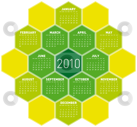 Green Calendar for 2010. stock vector clipart, Green Calendar for year 2010 in an hexagonal pattern (vector format) by Germán Ariel Berra