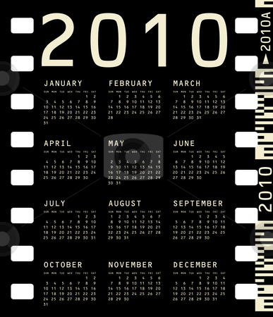 Photographic Calendar for 2010 stock vector clipart, 2010 Calendar inside a photographic film frame. by Germán Ariel Berra