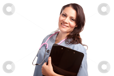 Attractive Hispanic Doctor or Nurse stock photo, Attractive Hispanic Doctor or Nurse with Clipboard Isolated on a White Background. by Andy Dean