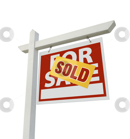 Sold Home For Sale Real Estate Sign Isolated stock photo, Sold Home For Sale Real Estate Sign Isolated on a White Background. by Andy Dean