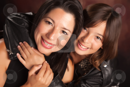 Attractive Hispanic Mother & Daughter stock photo, Attractive Hispanic Mother & Daughter Studio Portrait. by Andy Dean