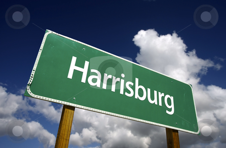 Harrisburg Green Road Sign stock photo, Harrisburg Road Sign with dramatic blue sky and clouds - U.S. State Capitals Series. by Andy Dean