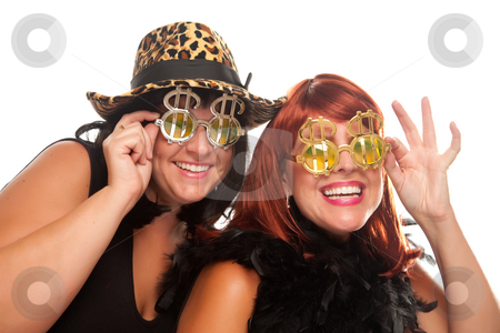 Two Beautiful Girls with Bling-Bling Dollar Glasses stock photo, Beautiful Smiling Girls with Bling-Bling Dollar Glasses and Funky Hat Isolated on a White Background. by Andy Dean
