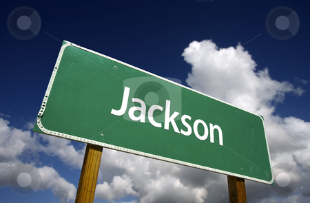 Jackson Green Road Sign stock photo, Jackson Road Sign with dramatic blue sky and clouds - U.S. State Capitals Series. by Andy Dean