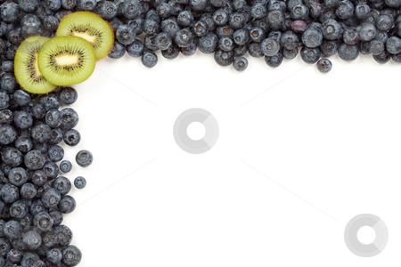 Kiwi and Blueberries Border stock photo, Kiwi and Blueberries Border Isolated on a White Background. by Andy Dean