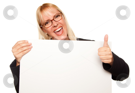 Attractive Blonde with Thumbs Up Holding Blank White Sign  stock photo, Attractive Blonde with Thumbs Up Holding Blank White Sign Isolated on a White Background. by Andy Dean