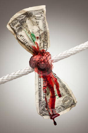 Wrinkled American Dollar Bleeding in Rope stock photo, Wrinkled American Dollar Tied Up and Bleeding in Rope. by Andy Dean
