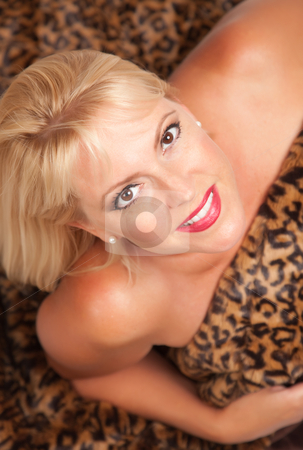 Beautiful Blonde Woman Poses on Leopard Blanket. stock photo, Beautiful Blonde Model Poses on Leopard Blanket. by Andy Dean