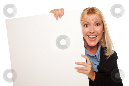 Attractive Blonde Holding Blank White Sign stock photo, Attractive Blonde Holding Blank White Sign Isolated on a White Background. by Andy Dean