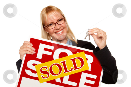 Attractive Blonde Holding Keys & Sold For Sale Sign stock photo, Attractive Blonde Holding Keys & Sold For Sale Sign Isolated on a White Background. by Andy Dean