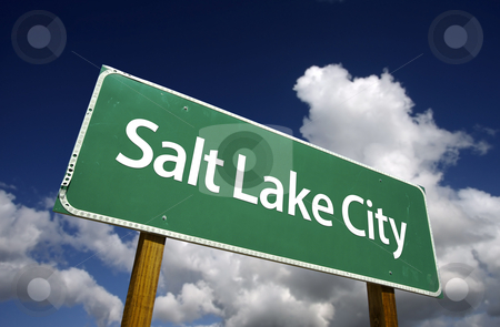 Salt Lake City Green Road Sign stock photo, Salt Lake City Road Sign with dramatic blue sky and clouds - U.S. State Capitals Series. by Andy Dean
