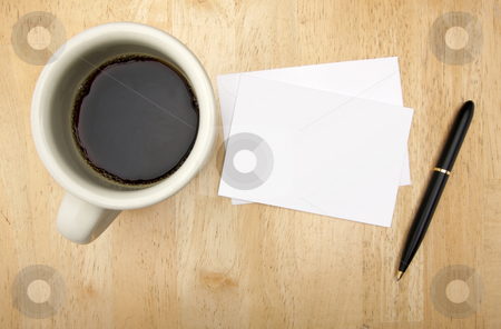 Blank Note Card, Pen and Coffee stock photo, Blank Note Card, Pen and Coffee Cup on Wood Background. by Andy Dean