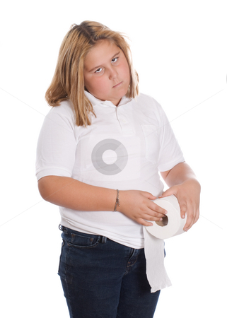 Girl Holding Toilet Paper stock photo, A young girl holding a roll of toilet paper, isolated against a white background by Richard Nelson