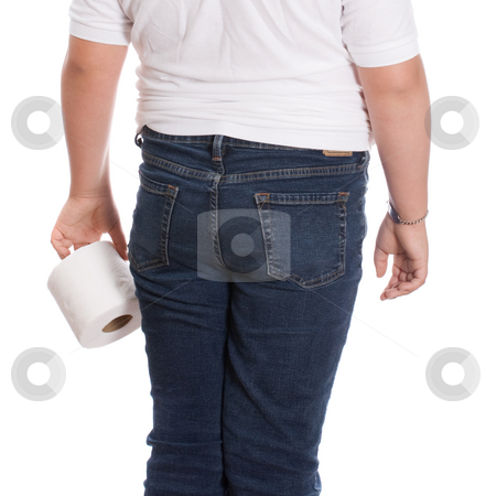 Walking To Bathroom stock photo, A rear view of a young girl holding a roll of toilet paper, isolated against a white background by Richard Nelson