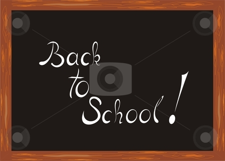 Back to school stock vector clipart, Illustration of a chalkboard with the headline Back to School! by Rimantas Abromas