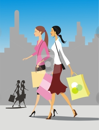 Shopping girls stock vector clipart, Detailed illustration of two young woman with shopping bags by Rimantas Abromas