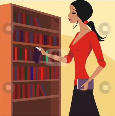 Librarian stock vector clipart, Vector illustration of a young woman librarian working in library by Rimantas Abromas