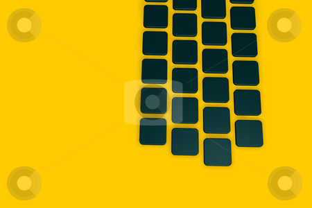 Tiles stock photo, Abstract background dark green tiles on yellow - 3d illustration by J?