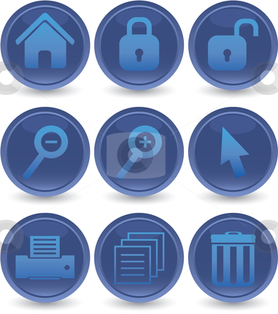 Blue web icons set stock vector clipart, Blue web icons set by Vadim Pats