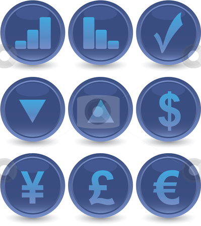 Blue web icons set stock vector clipart, Blue financial web icons set by Vadim Pats