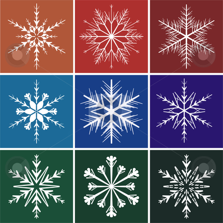 Nowflakes stock vector clipart, Snowflakes on colors background illustrations image vector by Čerešňák