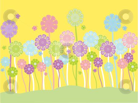 Pretty pastel flowers stock vector clipart, Vector illustration of pretty pastel flowers on a yellow background by Rachel Gordon